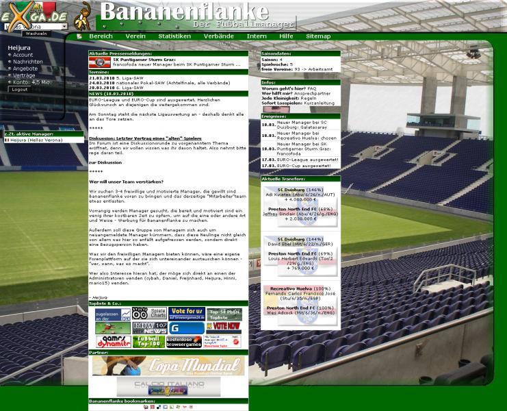 Bananenflanke - Der Fußballmanager - Hauptseite