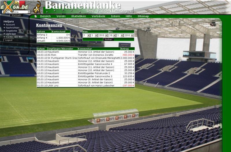 Bananenflanke - Der Fußballmanager - Kontoansicht