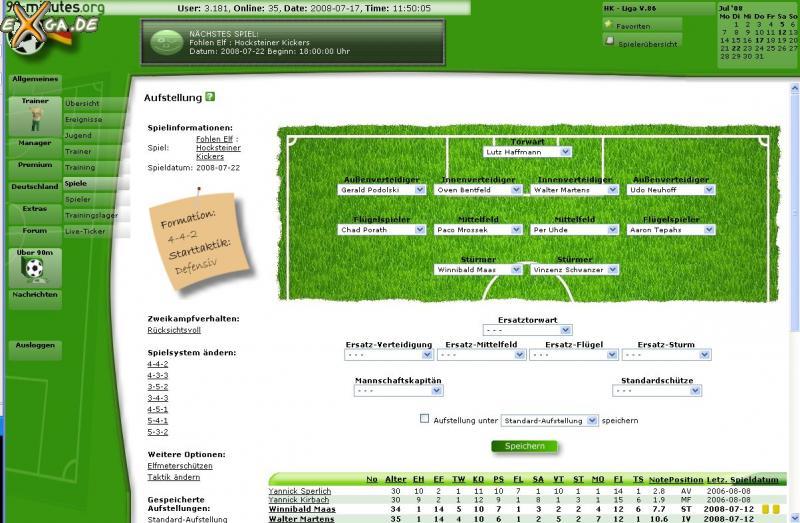 90-minutes - online Fussballmanager - Aufstellung
