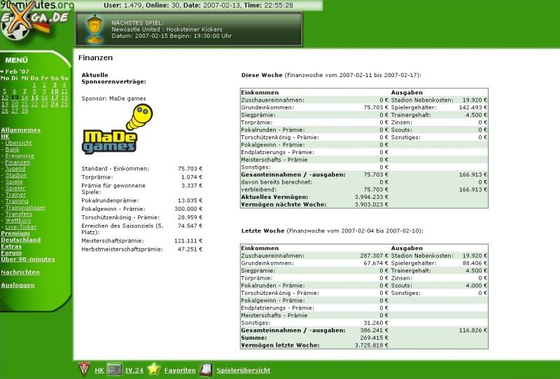 90-minutes - online Fussballmanager - Finanzen