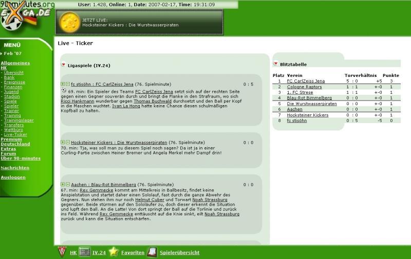 90-minutes - online Fussballmanager - Liveticker