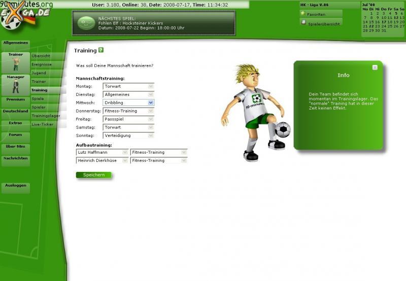90-minutes - online Fussballmanager - screenTraining